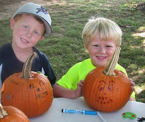 It was fun to decorate pumpkins from the kids garden