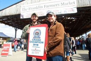Grand Champion Winners Brock Hughey and Dennis Fioravanti of Red Cedar Bison Ranch