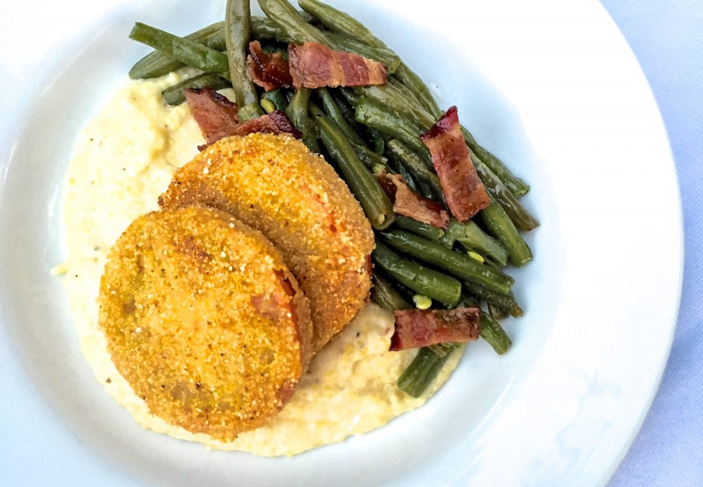 A souther delight! Pan Fried Tomatoes and Grits with Green Beans and Bacon
