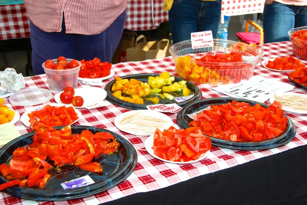 Free tasting from over 30 different varieties of locally grown farm tomatoes