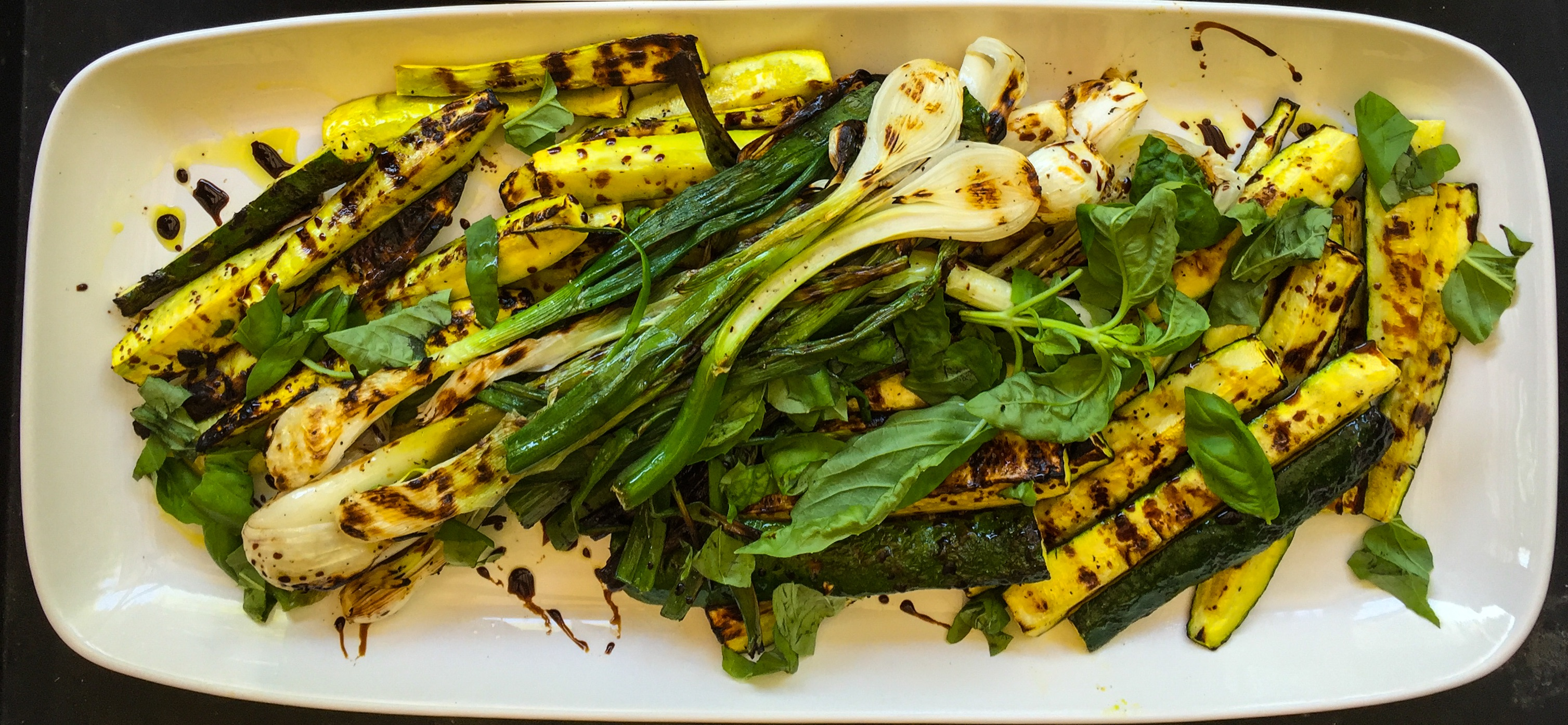 What a beautiful platter of fresh local grilled vegetables!