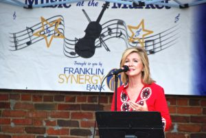 Market customer Congressman Marsha Blackburn shares a few words