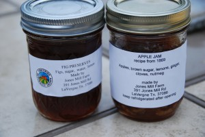 Apple Jam and Fig Preserves made fresh by Judy in her kitchen