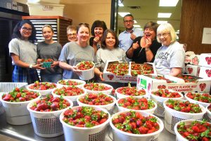 Washed, cut and prepared for 1,000 shortcakes by Clearview Baptist Volunteers
